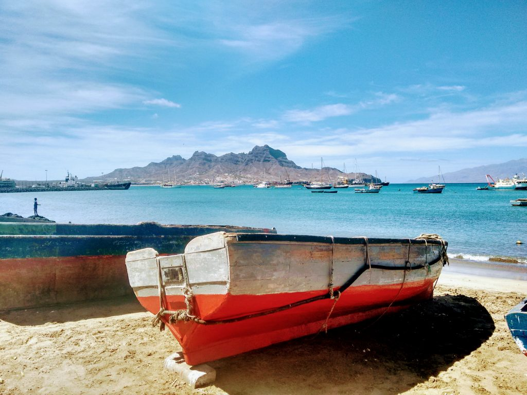 mindelo, sao vicente, cabo verde, cape verde, fishing boat