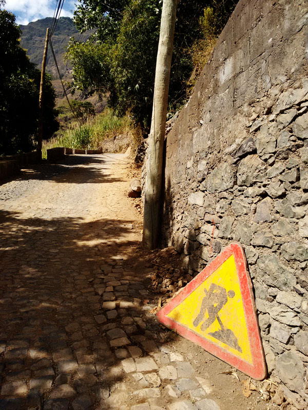 paul valley, santo antao, cape verde, cabo verde, africa, road works