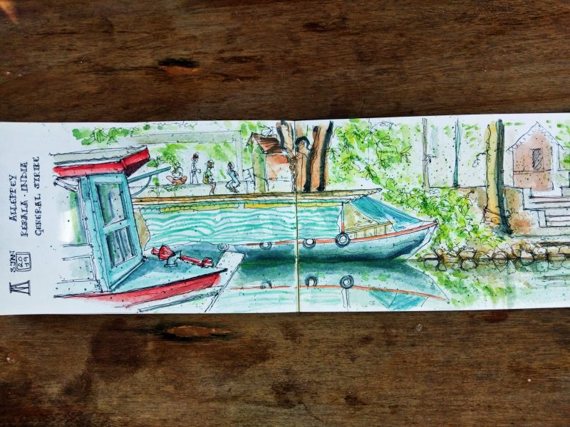 Kerala, India, Alleppey, canals, backwaters, boats, general strike, new year, pen and wash, watercolor, watercolour, sketch, sketchbook, drawing, painting, illustration