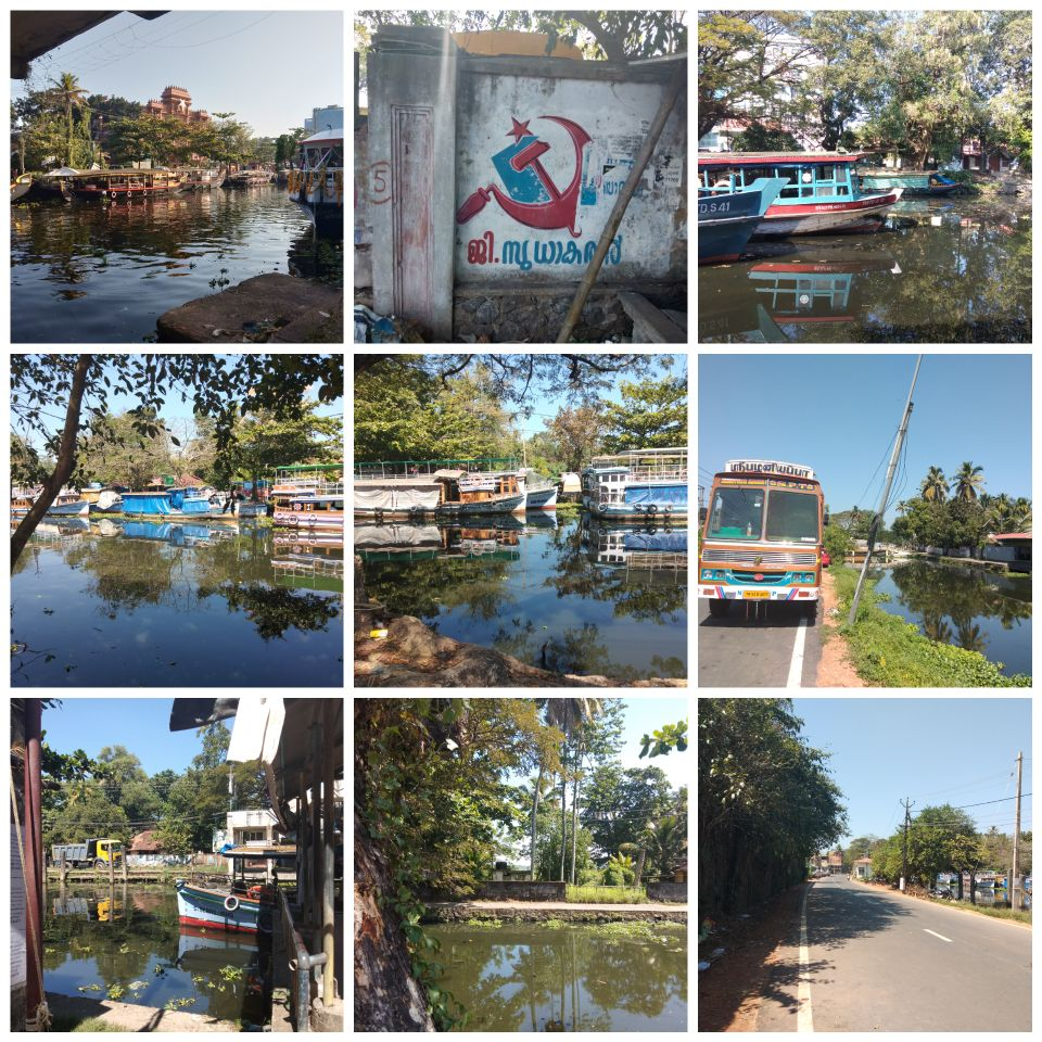 alleppey, kerala, india, backwaters, canal, boats, general strike, communist