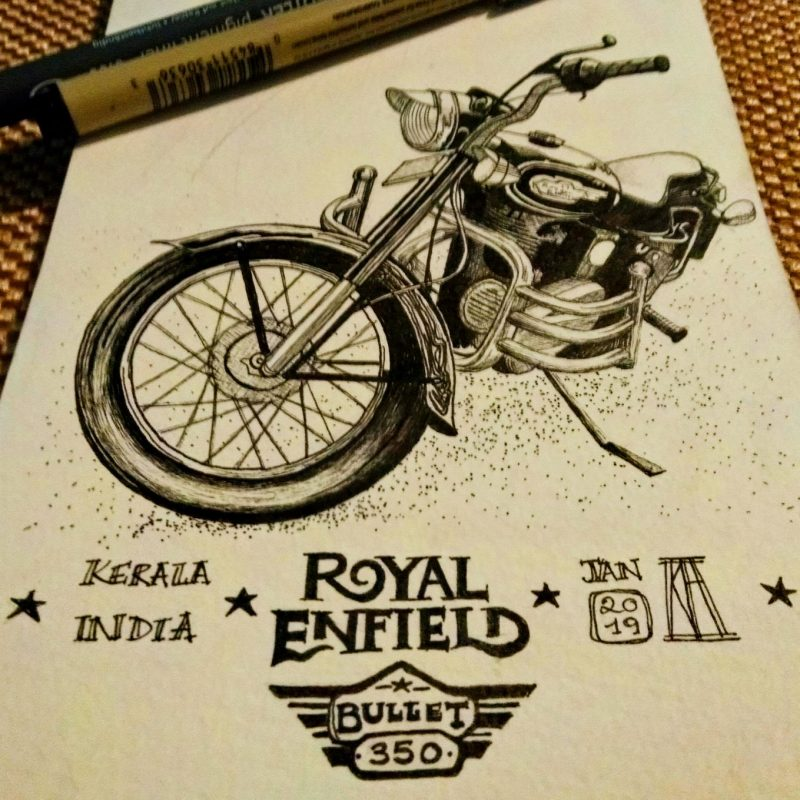 royal enfield, bullet 350, royal enfield india, motorcycle, motorbike, drawing, pen, fine liner, kerala, india