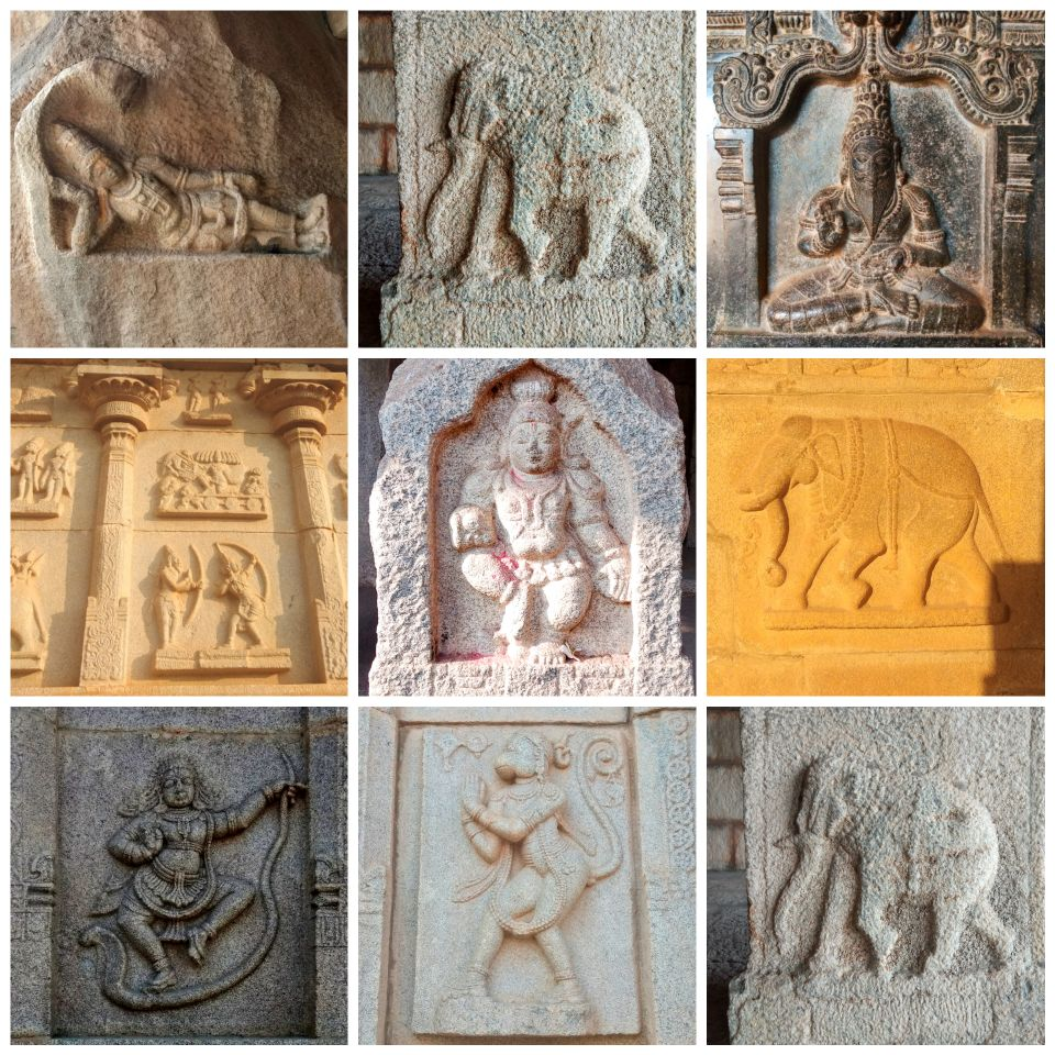 stone carvings, hampi, karnataka, india, ancient civilization, ruins