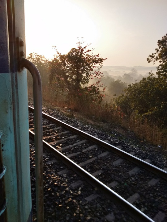 train, tracks, india, indian railway, misty morning