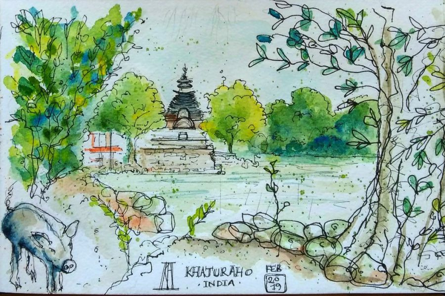 khajuraho, madhya pradesh, india, sketchbook, travel blog, travel illustration, watercolour, painting, drawing, sketch, pig, temple, lake, illustration, pen and wash