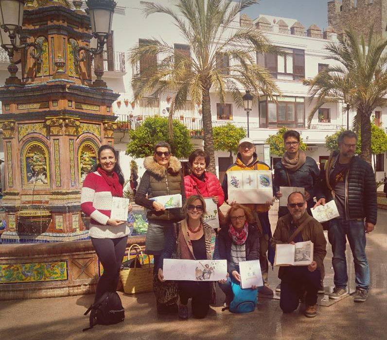 vejer sketchers, vejer, plaza de espana