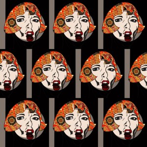 Portrait, charcoal, digital art, shouting woman, multiples, 70's pattern