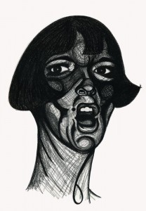Charcoal, portrait, shouting woman