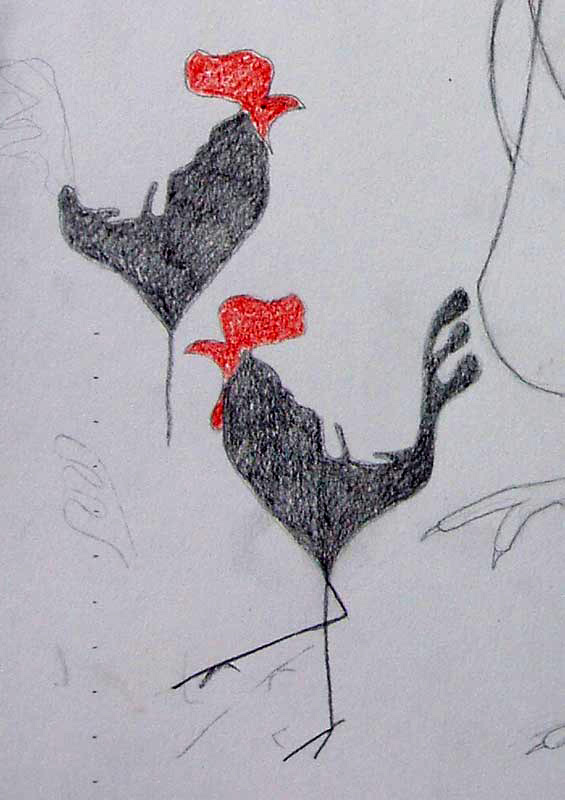 cockerel, pencil, sketch, rooster
