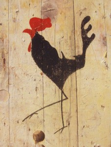 cockerel, rooster, cock, stencil, acrylic paint, reclaimed wood