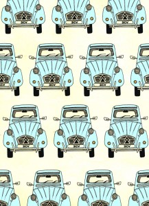 2CV, digital collage, pattern, car, illustration