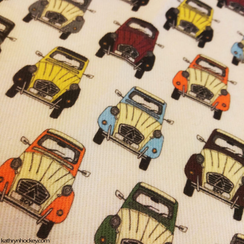 2CV, fabric, textile design, home sewing, needle work, home made, car, textile, material, surface illustration, illustration