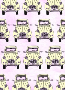 2CV, car, pattern, digital collage, illustration