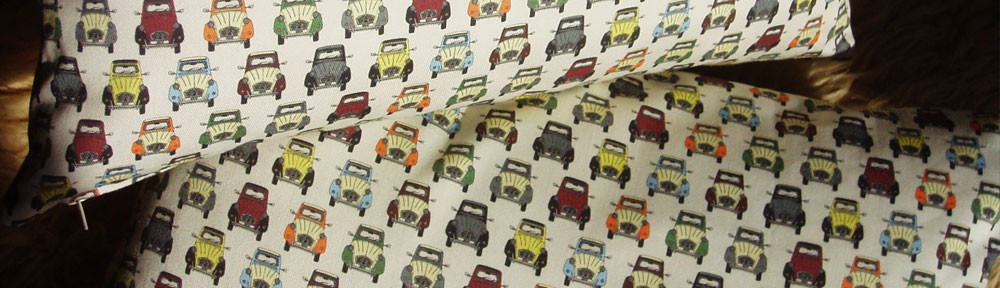 2cv, car pattern, digital printing, cotton canvas, fabric, textile design, surface illustration, digital collage, sewing, soft furnishing