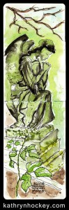 nunhead cemetery, nunhead, london, angel, grave, grave stone, pen and wash, pen and watercolour, pen and watercolour, sketch