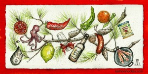 annie b, spanish kitchen, spanish cooking, andalucia, cooking courses, sherry, jerez, xerez, tours, lemon, pomegrante, orange, peppers, salmonete, red snapper, mussel, octopus, pulpo, pine, christmas, card, chorizo, pimenton, paprika, sketch, watercolour, pen and watercolour, pine cones, umbrella pine, paella pan, card, christmas card, drawing