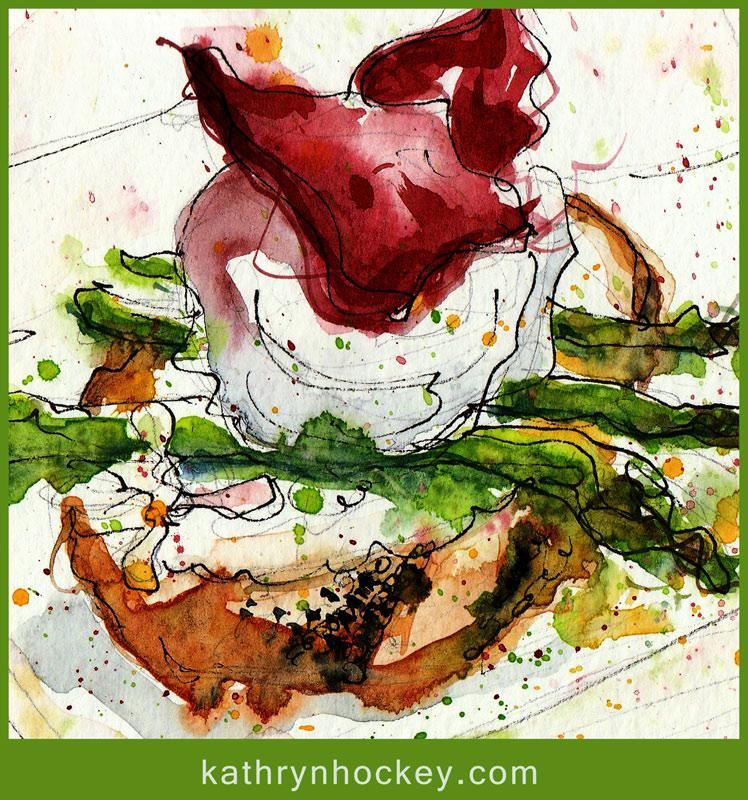 alquimia, watercolour, watercolor, sketch, fine dining, starter, asparagus, duck egg, poached egg, sour dough bread, jamon iberico de bellota