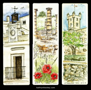 sketch, vejer sketchers, urban sketchers, drawing, pen and water colour, baelo claudia, bolonia, andalusia, roman ruins, poppies, cadiz, ayuntamiento vejer