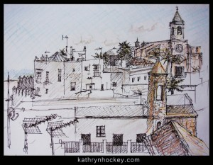 sketch, vejer sketchers, urban sketchers, drawing, pen and coloured pencil, vejer de la frontera, andalusia
