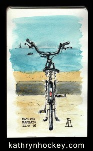 ocean, atlantic, beach, bike, bicycle, playa, andalucia,barbate, watercolour, watercolor, sketch, drawing
