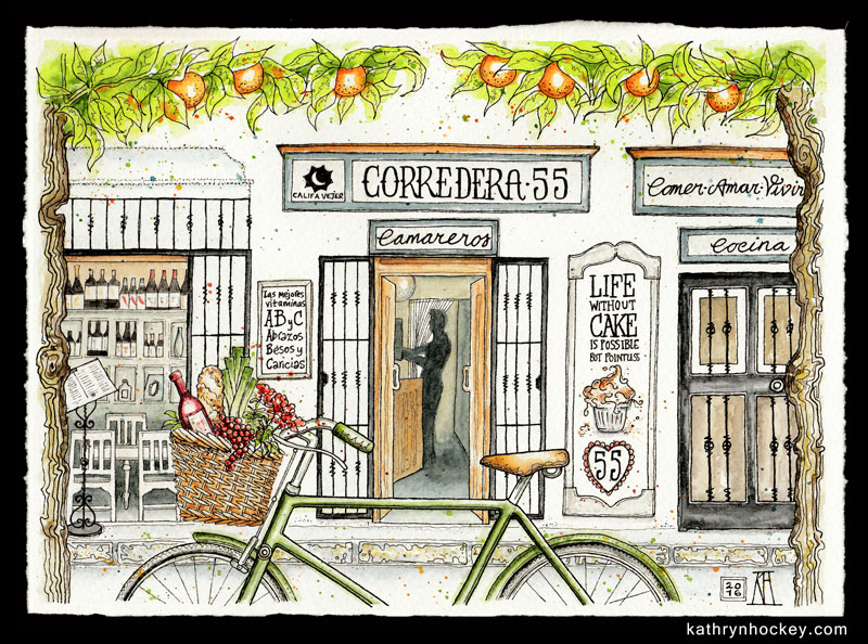 corredera 55, restaurant, califa vejer, vejer de la frontera, andalusia, pen and watercolour, pen and wash, pen and watercolor, sketch, drawing, painting, facade, comer amar vivir, life without cake, vitamins abc
