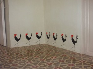 cockerel, mural, casa del arco, stencil, illustration