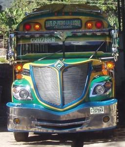 chicken bus, san pedro la laguna, guatemala