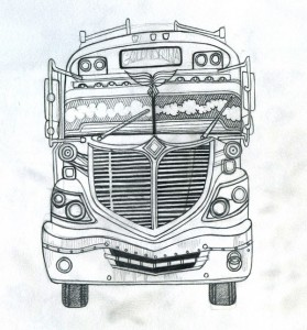 chicken bus, sketch, pencil