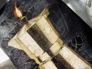 coffee pot, candle, charcoal, acrylic paint, crackle glaze, bitumen stain