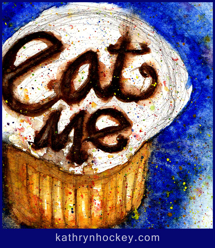 eat me, cake, cup cake, lemon icing, vanilla sponge, alquimia, watercolour, watercolor, sketch, chocolate, fine dining