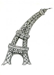Eiffel Tower, pencil drawing