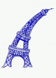 Eiffel Tower, blue