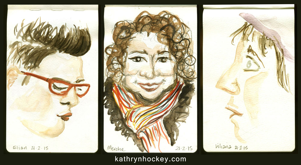 vejer sketchers, watercolour sketches, portraits, sketch