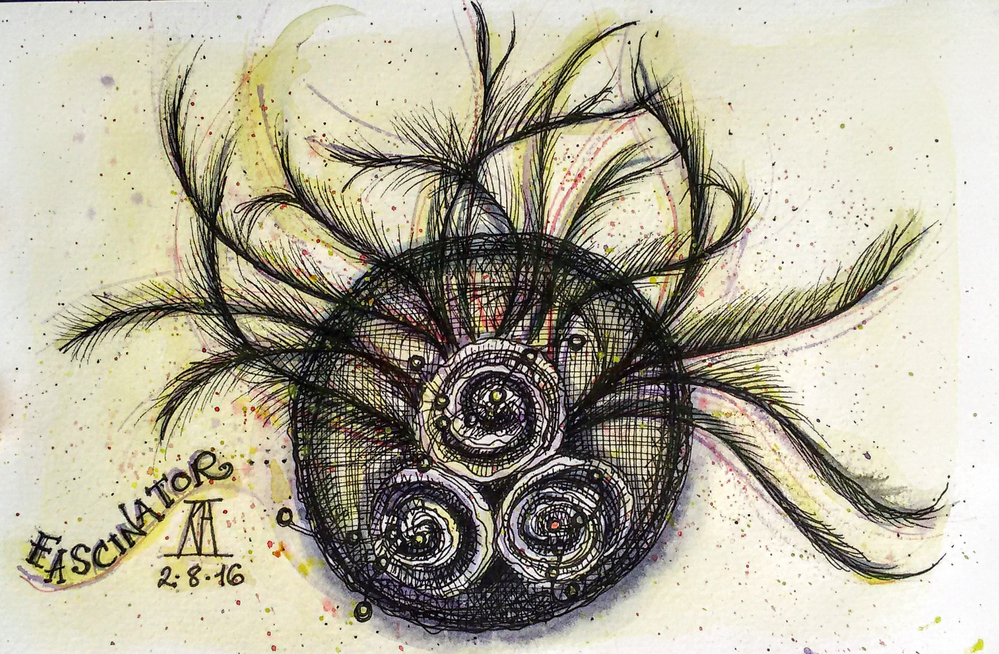 fascinator, feathers, sketch, pen, watercolour, watercolor,, drawing