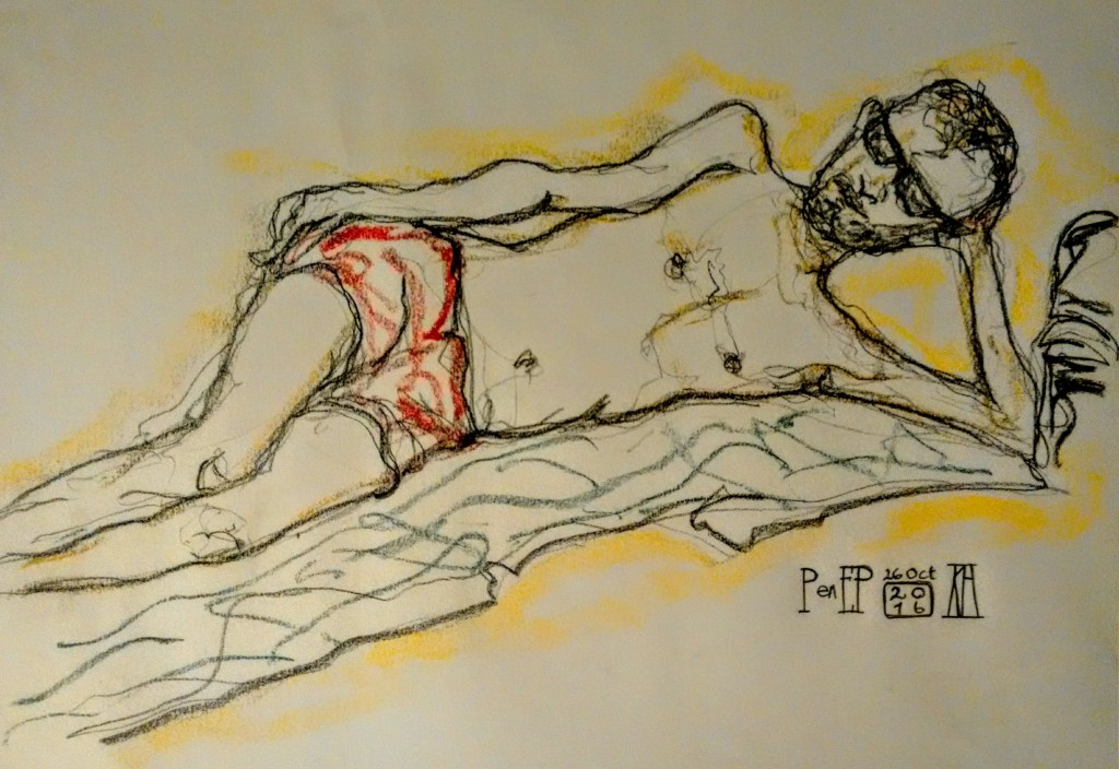 el palmar, beach, life drawing, model, sketching, charcoal, pastel