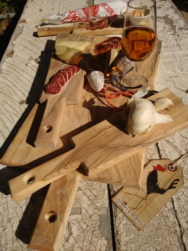 graphic design, cockerel, retronuevo, vintage, tag, tapas, wild olive, wood, chopping board, sherry, garlic, chorizo, cheese, ham, paddle