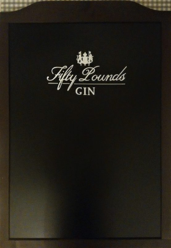 fifty pounds gin, london, gin, signwriting, chalk pens, black board, freehand, text, illustration, logo, brand