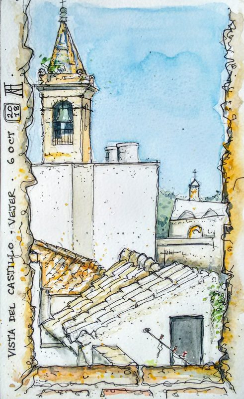 vejer, castle, castillo, ramparts, view, sketch, vejer sketchers, pen, watercolour, watercolor, painting, drawing, sketchbook, illustration, cadiz, andalusia, spain, church, bell