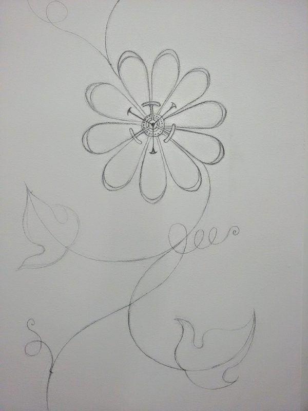 passion flower, drawing, pencil, mural, illustration, surface pattern, wall, art