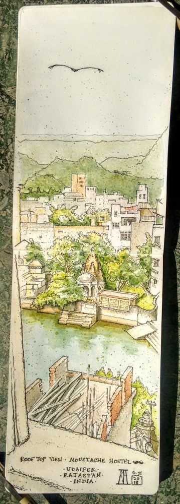 udaipur, lakeside, lake pichola, rajasthan, India, pen and watercolour, painting, sketching, sketch, sketchbook, rooftop, moustache hostel, hanuman gat