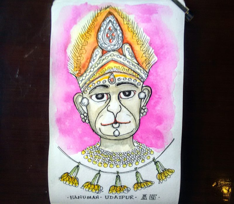 hanuman, monkey, god, temple, udaipur, rajasthan, hindu, india, pen, watercolour, sketch, sketchbook, painting, travel, illustration, drawing