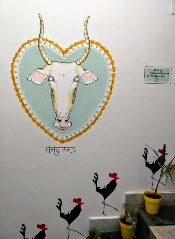 holy cow, cow, mural, wall painting, wall art, detail, nose, acrylic paint, emulsion paint, decoration, illustration, surface decoration, decorative painting, artwork, india, rajasthan, udaipur, moustache hostel, travel