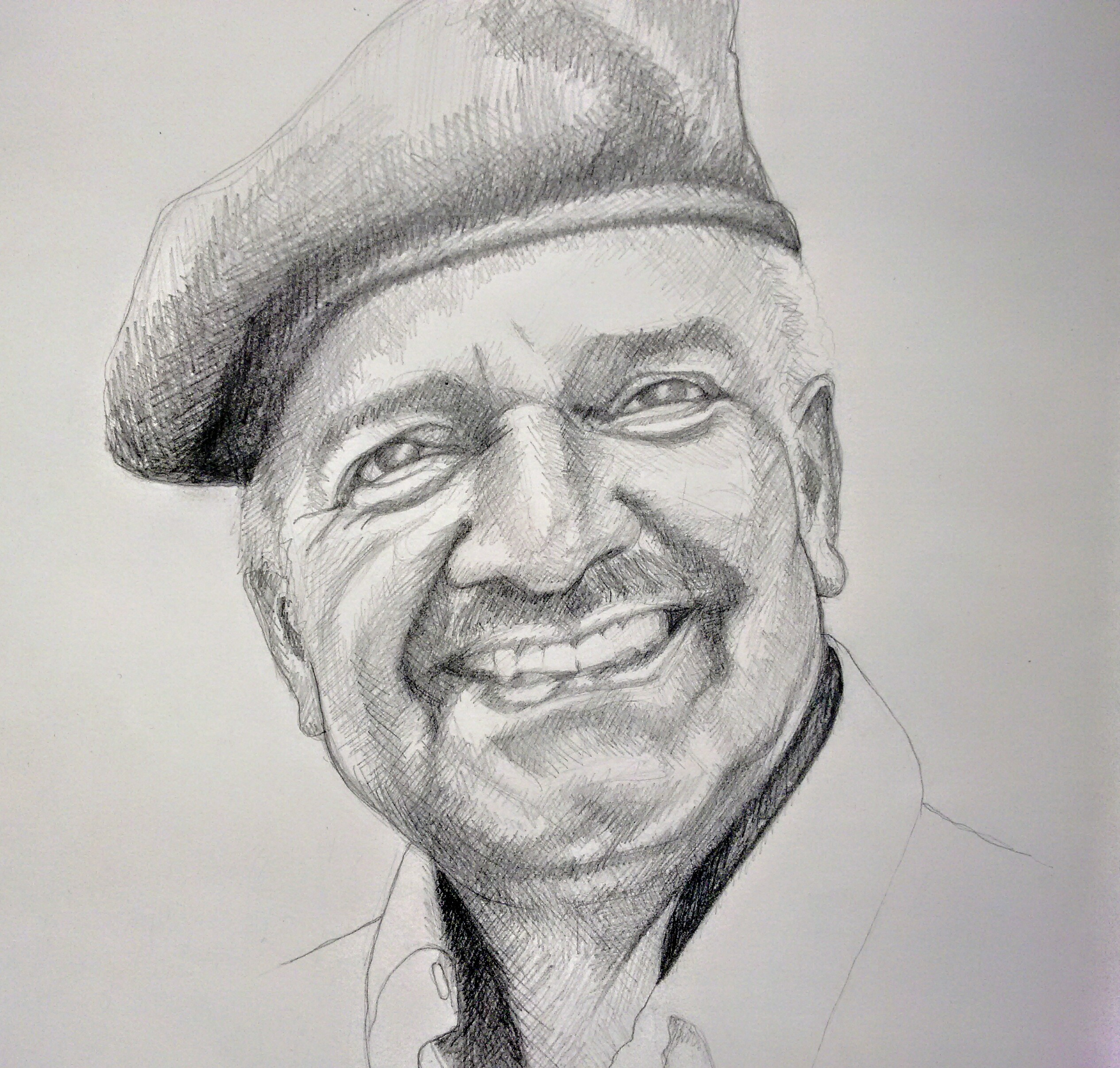 father, papa, pencil, drawing, portrait, gift, remember