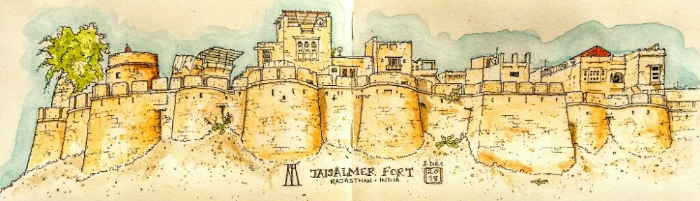 jaisalmar, fort, rajasthan, india, workaway, rooftop, wonbin safari hostel, pen and wash, watercolour, watercolor, painting, sketching, sketchbook, travel illustration, travel blog, illustration, landscape, painting, drawing