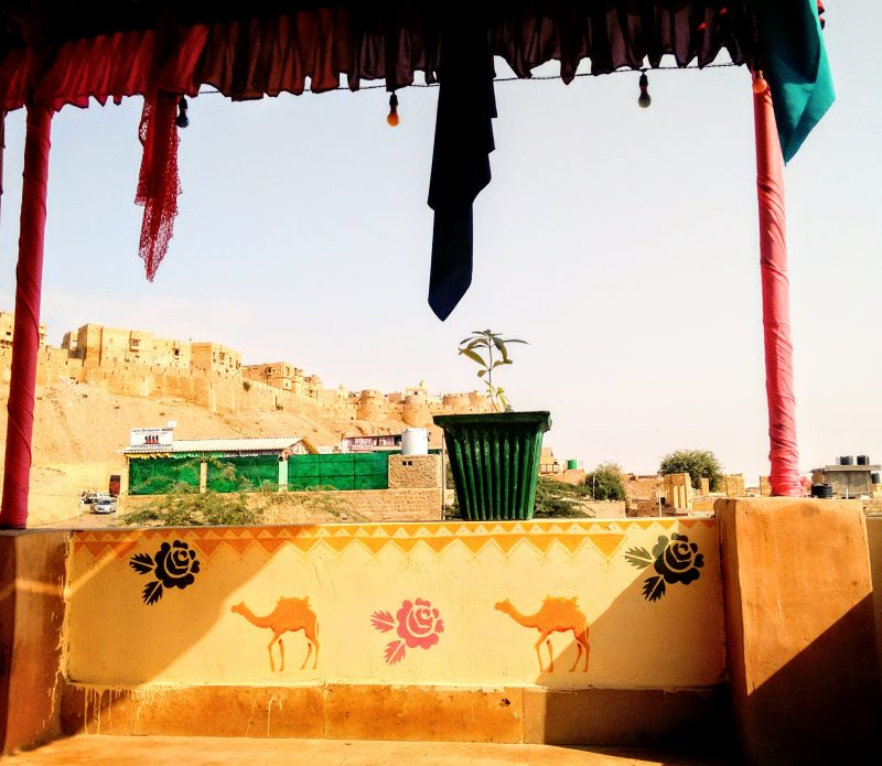 wonbin safari hostel, roof terrace, fort, jaisalmar, rajasthan, India, camel, decorative painting, mural, wall art, wall painting, folk art, acrylic paint, illustration, stencil, camels
