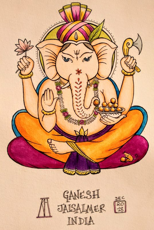 jaisalmar, Ganesh, watercolour, pen and wash, drawing, painting, illustration, elephant, elephants, god, hindu, rajasthan, india