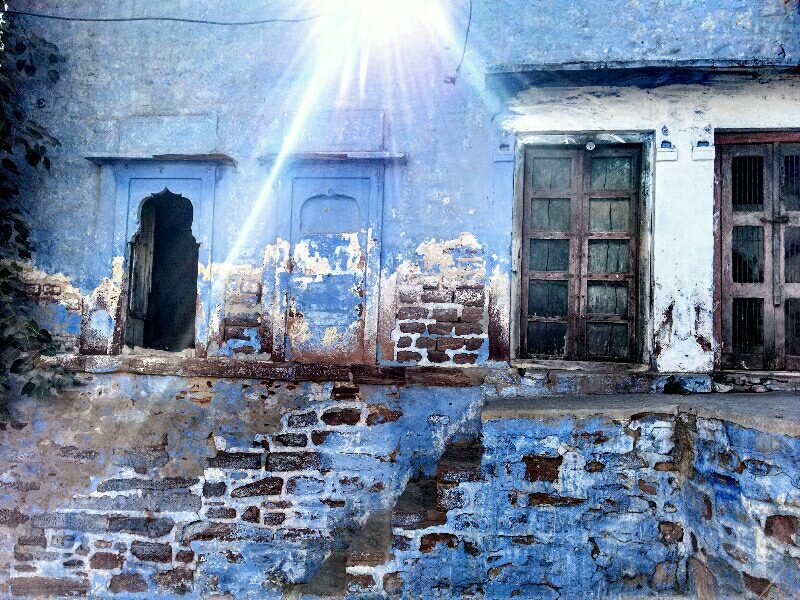 jodhpur, old town, blue city, architecture, blue, sunbeam