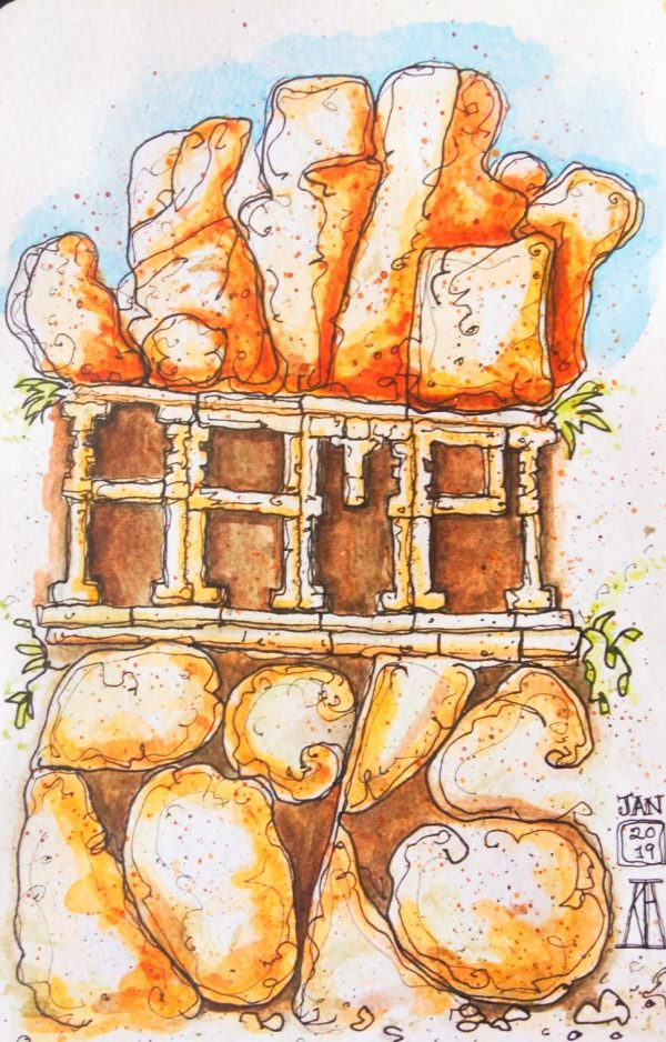 hampi, karnataka, india, hampi rocks, rocks, travel, illustration, pen and wash, watercolor, watercolour, painting, drawing, sketch, sketchbook