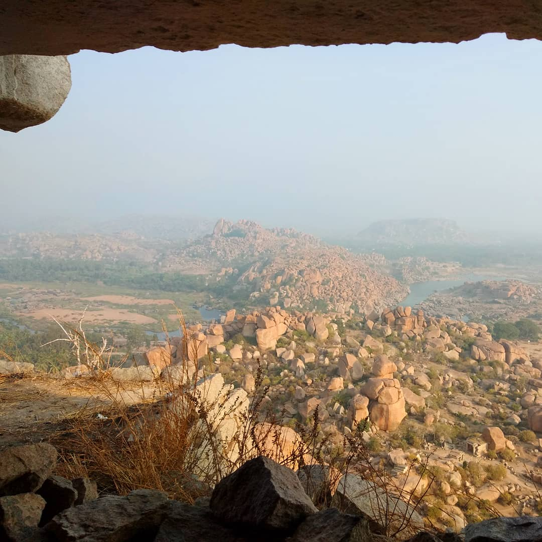 hampi, karnataka, india, sunrise, mountain, river