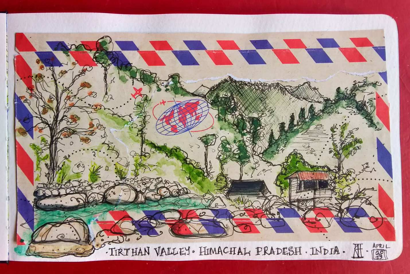 tirthan valley, himachal pradesh, india, collage, airmail, pen and wash, watercolour, landscape, travel blog, travel illustration, river, mountains, rocks, watercolor, sketchbook