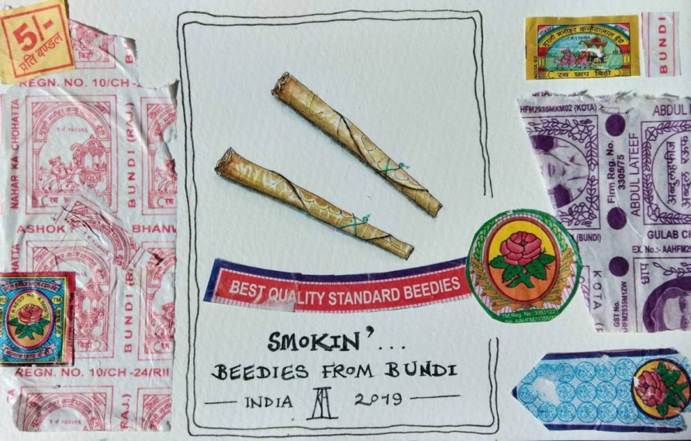 bidi, beedi, leaf cigarette, indian cigarette, bundi, rajasthan, india, travel illustration, illustration, pen and wash, watercolour, watercolor, painting, drawing, sketchbook, collage, packaging